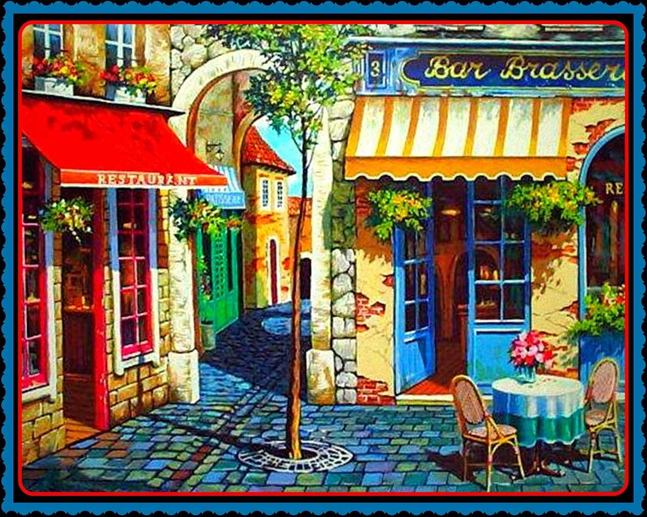 watercolor painting, french, bar